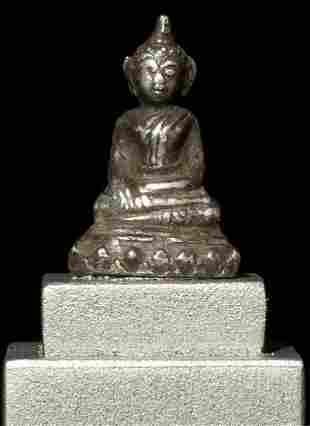 WONDERFUL miniature antique Thai or Lao silver Buddha.