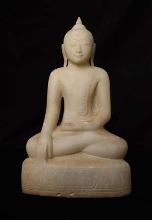 Superb17thC Burmese Ava Buddha carved in Alabaster.
