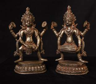 16thC Nepalese Silver/Bronze Tantric Figures