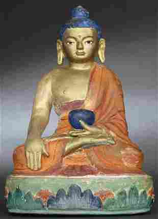 Fantastic Tibetan or Mongolian Buddha sculpted out of