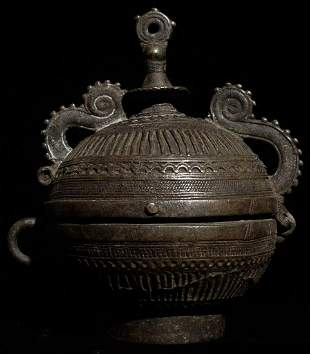 """Very decorative old Indian bronze container. 5.75"""""""