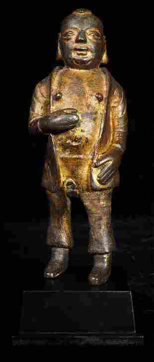 Very uncommon MingChing bronze figure-head, face, and