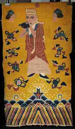 This vintage/antique Tibetan pillar rug
