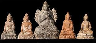 Group of FIVE 18/19thC Mongolian or Tibetan Buddhas and