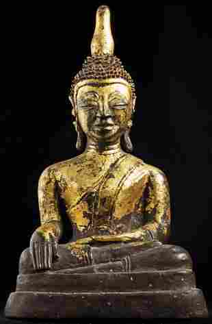 16thC Thai bronze Buddha, with some Burmese influence