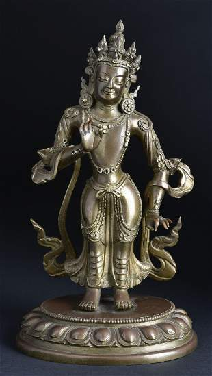 Finest quality 19th Century Tibetan Standing Bronze