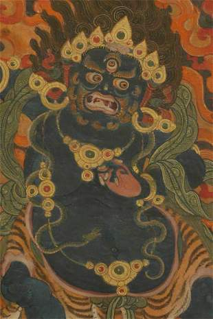 Vibrant and extremely finely painted Tibetan Thangka