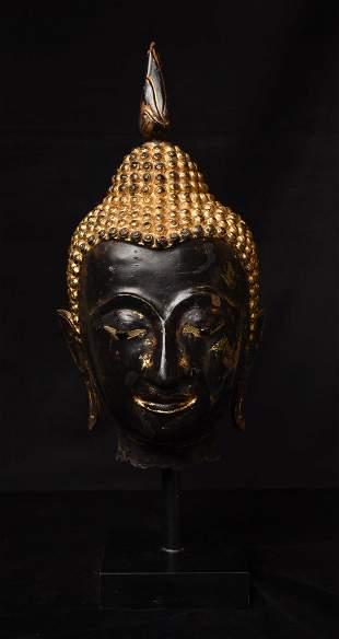 18/19thC larger than Life Thai bronze Buddha head.