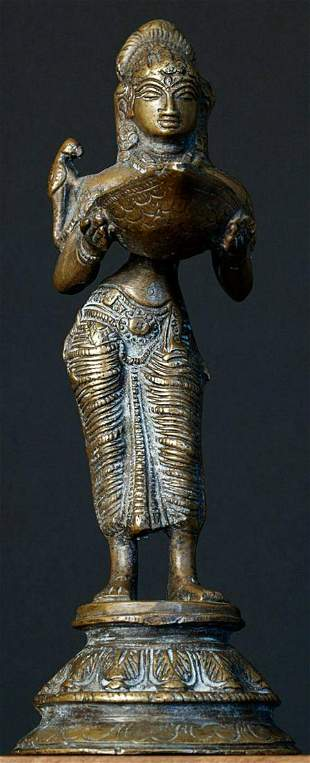 Vintage/old Indian bronze oil lamp in the form of a