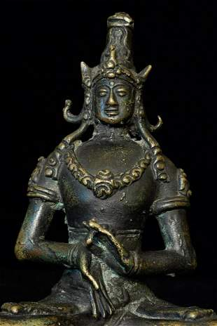 Antique Indonesian or Javanese bronze Buddha or