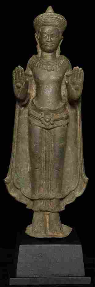 Fine and large 12/13thC Cambodian bronze Buddha.