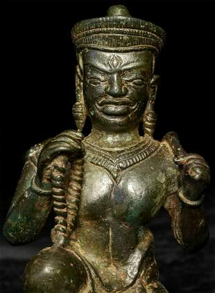 "12thC Cambodian Solid-Cast Bronze ""Divine Architect""."