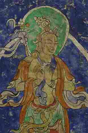 "Unusual antique Tibetan Thangka. Dimensions: 6.75"" x"