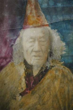 Antique Mongolian Lama photo with hand coloring.