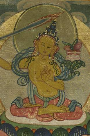 "Fine small antique Mongolian Thangka measures 3 1/8"" x"