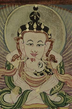 Decorative small antique Mongolian thangka measures