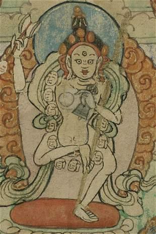 "Small antique Mongolian thangka measures 3.25"" x 4"""