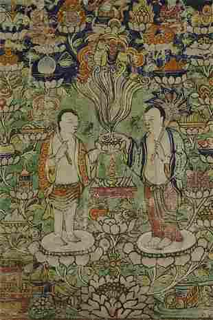 "Antique Mongolian Thangka measures 6 7/8"" x 7 7/8""."
