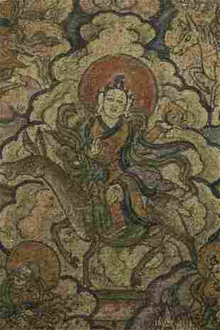 Miniature Mongolian painted thangka measures 2 1/8 x 2