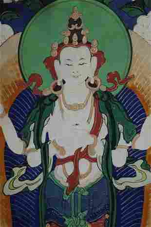 Lovely old Mongolian Thangka. Nicely painted, beautiful
