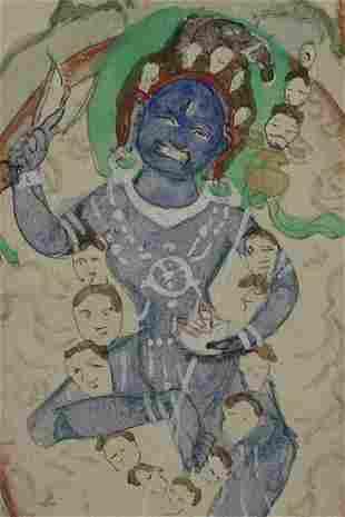 Antique Mongolian Dakini Thangka. Wonderfully animated.
