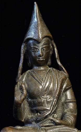 Antique Nepalese or Tibetan bronze lama.