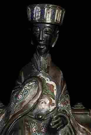 Seated Cloisonné figure,19th Century China , Bronze,