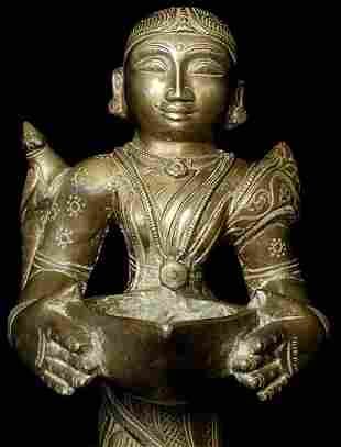 Antique Bronze Indian attendant lamp.
