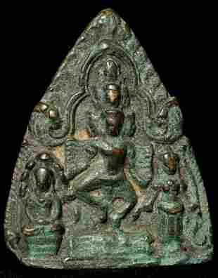 Cambodian bronze plaque or amulet from an old