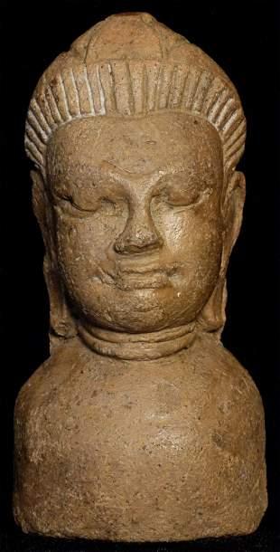 Authentic 13thC Haripunchai Thai Buddha Bust.