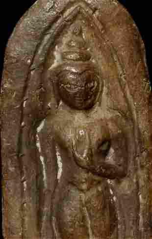 Thai clay or terracotta Buddhist amulet of a Sukhotai