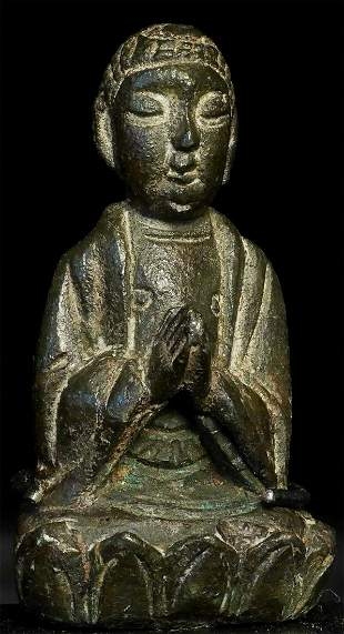 Very early (pre-ming) Chinese solid-cast bronze Buddha.