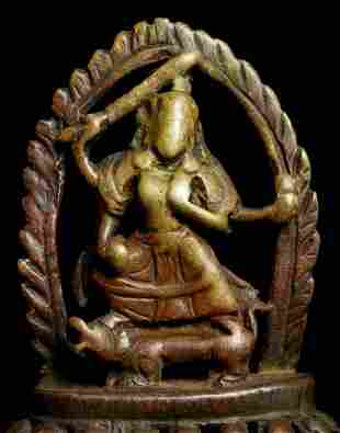 Early Nepalese figure. Small and worn with devotion,