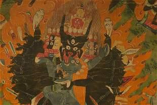18/19thC Antique Tibetan Thangka.