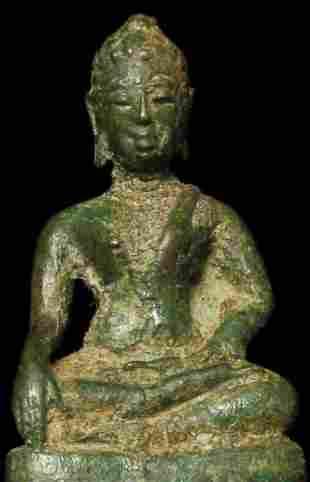 Rare 14/15thC true miniature Thai bronze Buddha.