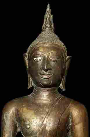 """15/16thC """"Utong C"""" Thai Bronze Buddha."""