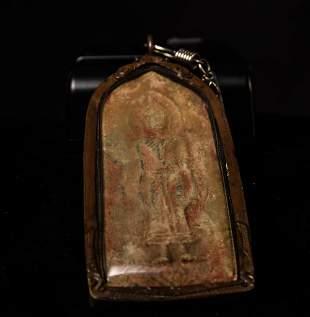 Large ancient Thai silver/lead amulet