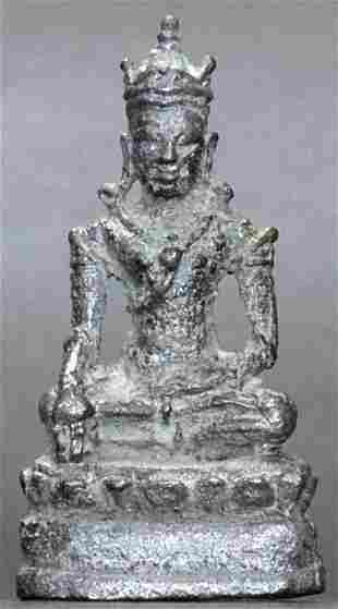 18thC Thai bronze Buddha. Measures 1.5 inches tall.