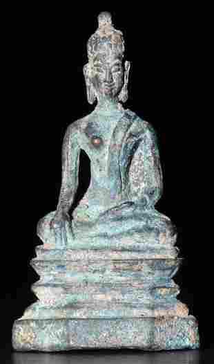 BUDDHA,16th Century Thailand, Miniature, Bronze, 1-9/16