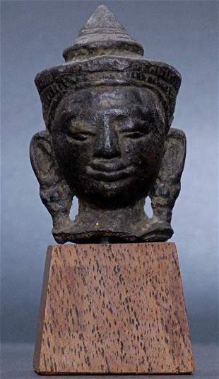 BUDDHA HEAD,14th Century Thailand, Bronze, 3 Inches