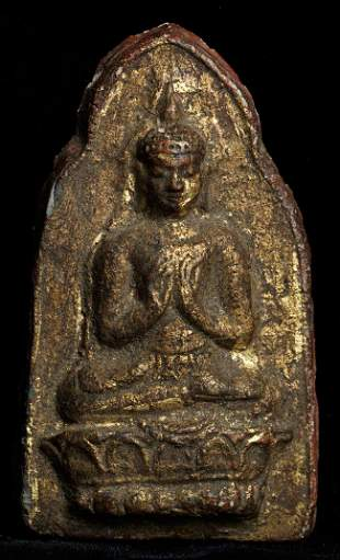 """Old Burmese Buddhist votive. Size- 3.25"""" tall, almost"""
