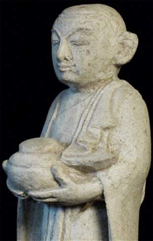 Cute vintage Burmese stone Monk. Chip to robe. Great