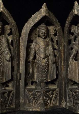 Antique (early 20thC) Mandalay Burmese Buddha Tryptich.