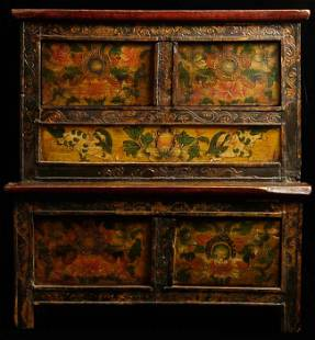 Antique Tibetan Cabinet. Perfect small size for an