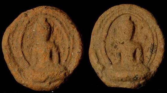 Very early Terracotta Buddha tablets.