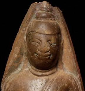 Delightful 18thC Burmese Terracotta Buddha.
