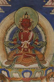 """Lovely Old/Antique Mongolian Thangka measures 8 1/8"""" x"""
