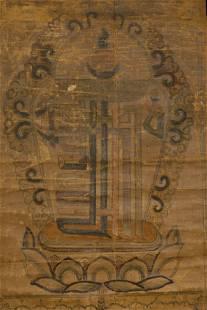 "Antique Mongolian Kalachakra Scroll is 21"" x 10 1/8"""