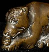 18/19thC Chinese scroll weight of an animated lion.