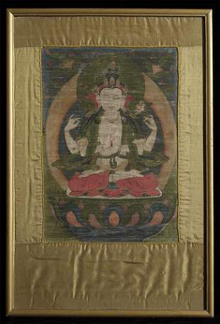 "Antique Tibetan Thangka measures 16.5"" x 11.5""."